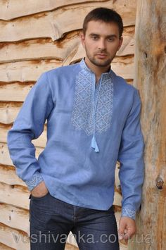 Купить Вышитая мужская рубашка со стойкой и длинным рукавом в Киеве, цена, отзывы   Вышиванко