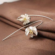Bạc Bông Tai Thời Trang Lily Nước 925 Sterling Silver Stud Earrings đối với Phụ Nữ Jewelry Sỉ Quà Tặng Hot Bán
