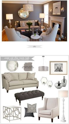 Copy Cat Chic Room Redo | Glamorous Grey Living Room | Get the look for only $3,259