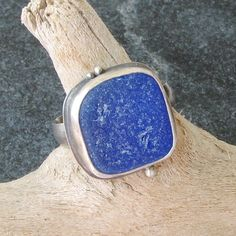 Sea Glass Jewelry Sea Glass Ring in Cobalt Blue English Seaglass  Beach Glass Ring