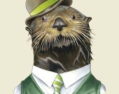 Stampa artistica Woodland Fox Raccoon parete di WatchfulCrowArts
