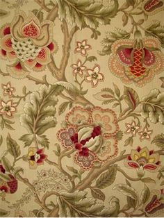 """Imperial Dress TW Gold  Wavery Fabric - Traditional Jacobean floral print on 100% cotton fine line twill. Beautiful multi purpose drapery or upholstery fabric. V 18"""", H 27"""" up the roll repeat.. Made in U.S.A. 54"""" wide"""