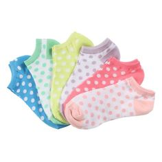 Polka Dots! La De Da 6 Pack No Show Socks