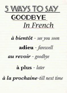 {Lists} 5 Ways to say goodbye in French #lists #french