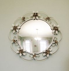 Black Wrought Iron Mirrors | Vintage convex mirror wrought iron flowers 1950s wall mounted toleware ...