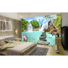 landscape aliexpress wallpapers bedding decora living waterfall paisaje printing parede mural pantalla fondo