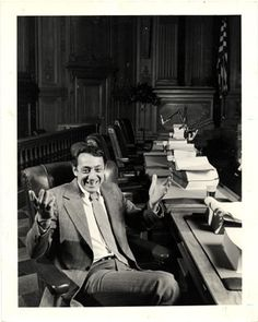 Harvey Milk in Board of Supervisors Chambers in City Hall at the Budget Hearings openings, 1978