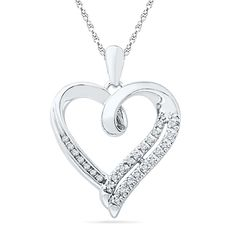 Sterling Silver Round Diamond in Heart Pendant (1/10 cttw) >>> Read more reviews of the product by visiting the link on the image.