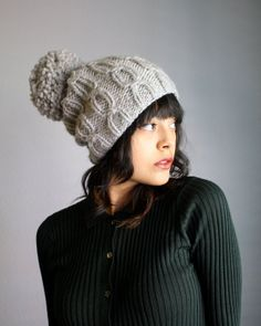 TAKE 20% OFF // Coupon Code: SWEATERWEATHER13 // Twin Sailors Cable Pom Pom Beanie in Heather Grey