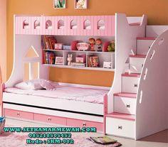 Tempat Tidur 2 Tingkat Anak Putih Pink