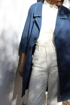 """100% washed cotton twill. Made in NYC. measurements (from size small) sleeve length: 19"""" armpit to armpit: 22"""" length: 38"""" *all measurements taken lying flat. for circumference, double."""