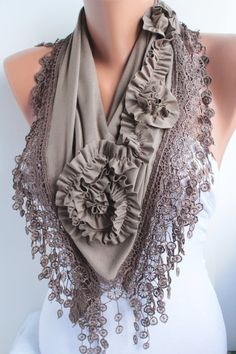 Brown Mocha Jersey Rose Shawl Scarve Scarf Cowl with lace edge by DIDUCI (photo only) Purple Lace, Green Lace, Khaki Green, Dark Purple, Coral Scarf, Tube Scarf, Scarf Design, Cotton Scarf, Long Scarf