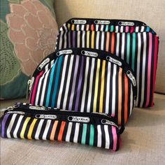 LeSportsac 3-piece Travel Set BRAND NEW - set of three top zip closure pouches. Pockets in both of the two larger bags - perfect for makeup, brushes, jewelry and accessories for traveling. LeSportsac Bags Cosmetic Bags & Cases