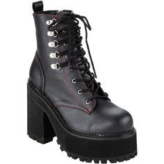 Pleaser Demonia By Pleaser Assault Combat Boots ($99) ❤ liked on Polyvore featuring shoes, boots, ankle booties, black ankle booties, black army boots, black military boots, combat boots and lace up platform booties