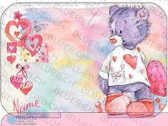 Yumbox Aufkleber Personalisiert - Love Bear Yumbox Decal Sticker with your own Name Blue Names, Love Bear, Box, Cover, Decals, Stickers, Etsy, Creative, Anime
