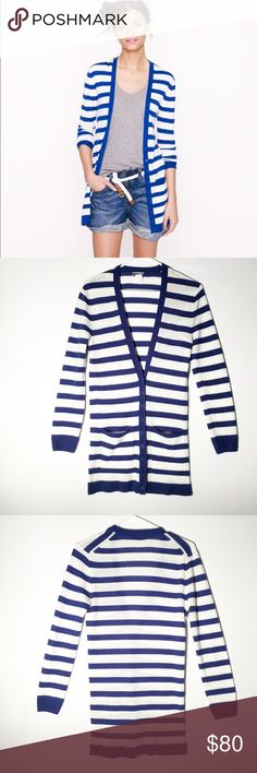 J. Crew 100% cashmere stripe cardigan Size small! This cardigan is featherweight and blue and white striped! So cute and soft! Retails for $268! Please make an offer I just might accept it! J. Crew Sweaters Cardigans