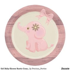 Girl Baby Shower Rustic Country Custom Plate