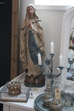 Our Lady of Fatima Madonna, Blessed Mother Mary, Blessed Virgin Mary, Religious Icons, Religious Art, Catholic Altar, Prayer Corner, Virgin Mary Statue, Losing My Religion