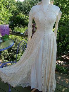 Vintage 1940s Wedding Dress Ecru lace slipper satin bridal gown size 4 6. $435.00, via Etsy.