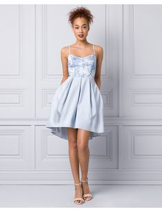 Embroidered Lace & Mesh Party Dress - Perfect for dancing the night away, this party-ready dress begins with a timeless embroidered bodice and finishes with a chic high-low hem. Corsage, Pregnant Mom, Dance The Night Away, Embroidered Lace, Teen Fashion, Bodice, Party Dress, Fashion Accessories, Prom Dresses