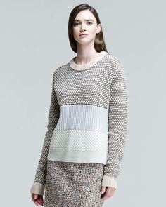 Proenza Schouler Paneled Mixedknit Sweater in Gray (BABY BLUE COMBO)