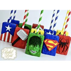 """""""With great power, comes great responsibility!"""" -Spider-Man ❤️Superhero inspired Rice Krispies Treats for an Avengers themed birthday… Hulk Birthday, Avengers Birthday, Superhero Birthday Party, Birthday Treats, 3rd Birthday, Rice Crispy Treats, Krispie Treats, Rice Krispies, Bolo Flash"""
