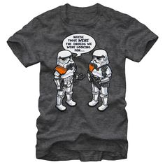 Droid Whoops - The Star Wars Wrong Droids Heather Charcoal T-Shirt references the famous scene from Star Wars Episode IV: A New Hope when Obi-Wan uses a Jedi mind trick to prevent the capture of C-3PO and R2-D2. This funny graphic tee features two stormtroopers rem