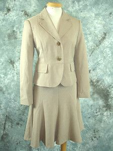 Womens Rafaella Petite TAN Full Skirt Suit