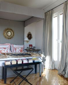 Carolina Herrera Baez's Master Bedroom as photographed for Elle Decor. Gotta have books there too!
