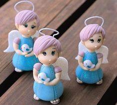 Angelitos en porcelana fría para bautismos o comunión