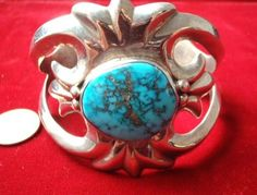 NATIVE AMERICAN ORVILLE TSINNIE Silver & Turquoise CUFF BRACELET