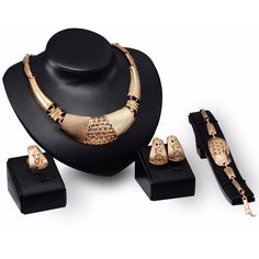 Alloy Gold Plated Wedding Jewelry Set ($6.32) ❤ liked on Polyvore featuring jewelry, wedding jewellery, gold plated jewelry sets, bridal jewellery, wedding jewelry and set jewelry