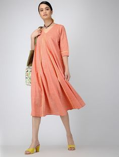 Orange Handloom Cotton Dress