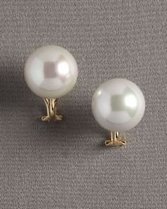 Y09HM Majorica Pearl Clip Earrings