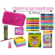 What's In My Pencil Case by glitterologie on Polyvore featuring Post-It, Paper Mate, BIC, Sharpie and BackToSchool