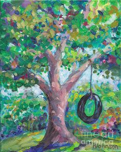 Tire Swing~ Peggy Johnson   #childhood memories  #painting #impressionism