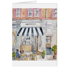 Cafe in London Watercolor Card - birthday cards invitations party diy personalize customize celebration