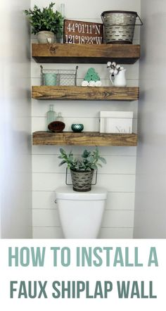 Oh my goodness.... it's #shiplap time. Today we're going to walk you through the simple steps on how to install a faux shiplap wall on the cheap. You'll be amazed by the crazy transformation the faux shiplap wall made in our farmhouse bathroom. #farmhousebathroom #bathroom #smallbathroom #shiplap