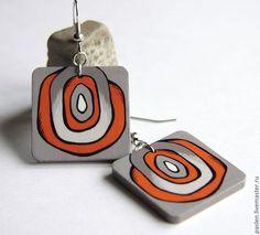 """Серьги """"Связь времен"""" с ручной росписью - оранжевый, серо-коричневый, коричневый, серый, овал, handmade earrings"""