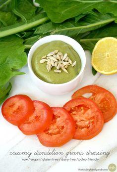 Creamy Dandelion Greens Dressing...a healthy, detoxifying dressing that's raw, vegan, gluten-free, dairy-free and paleo-friendly. Enjoy! #rawfoods #vegan #glutenfree #dressings #eatclean #cleaneating #cleaneatingrecipes #dandeliongreens #vitamix