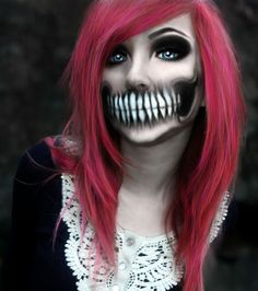 Crazy good detailing but I think its just photo-shopped. Good pic to get ideas & tips from to help me make my Skelton face for Halloween :D