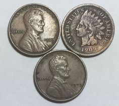 1909-VDB Lincoln, 1909 Lincoln and 1909 Indian Head cents. Beautiful coins!!!