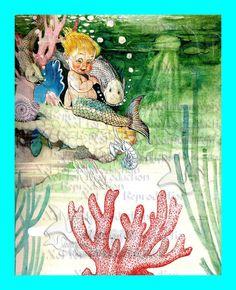 MERBABY MERMAID FABRIC s545 MERBABY FABRIC BLOCK Book Print by wwwvintagemermaidcom, $7.00