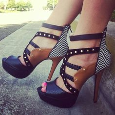 Where to find these shoes exactly!-peep toe pumps black and cognac leather with chevron print and gold studs
