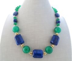 Lapis lazuli necklace, green jade necklace, chunky stone necklace, blue…