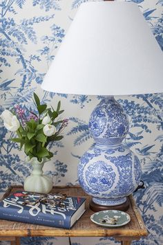 Blue and white lamp, wall paper, chinoiserie --  Jane-Lilly-Warren-Matchbook-Magazine-IMG_4809.jpg http://www.matchbookmag.com/