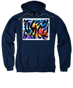 Original Bold Vibrant Stripey Contemporary Abstract Artwork On Paper.bright Blue Red Pink Yellow And A White Background. Sweatshirt featuring the painting Sixteen by Expressionistart studio Priscilla Batzell