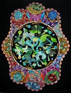 This is a fabric mosaic entitled Dancing Koi. It was inspired by a Koi pond I saw in a meditation garden. The light reflected off the water in spectrum's of c… Diy Arts And Crafts, Paper Crafts, Koi, Fiber Art, Quilt Patterns, Art Gallery, Projects To Try, Collage, Dance