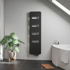 Moderní extra tenký radiátor Ori Open s praktickými otvory, které můžete využít k nahřívání textilií bez nutnosti použití dalších madel a příslušenství. Tenká konstrukce využívající minimálního množství vody, šetří spotřebu tepelné energie. Těleso je možné lakovat pouze strukturovanými barvami ze vzorníku ISAN. Bathroom Radiators, Designer Radiator, Shelves, Home Decor, Shelving, Decoration Home, Room Decor, Shelving Units, Home Interior Design