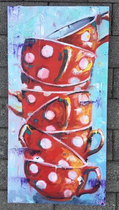Balancing Act in Red Floral Paintings, Still Life, Wrapped Canvas, Acting, Etsy Shop, Abstract, Red, Home Decor, Summary